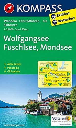 KOMPASS Wanderkarte Wolfgangsee, Fuschlsee, Mondsee: Wanderkarte mit Aktiv Guide, Panorama, Radwegen und alpinen Skirouten. GPS-genau. 1:25000: Wandelkaart 1:25 000 (KOMPASS-Wanderkarten, Band 18)