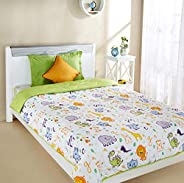 Amazon Brand - Solimo Animal Farm Microfibre Printed Quilt Blanket, Single, 120 GSM, White