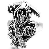 MunkiMix Acier Inoxydable Anneaux Bague Bague Argent Noir Faucheuse Faucheur Tête de mort Crâne Pistolet Pistolet Coulé Punk Rock Taille 54 Homme...