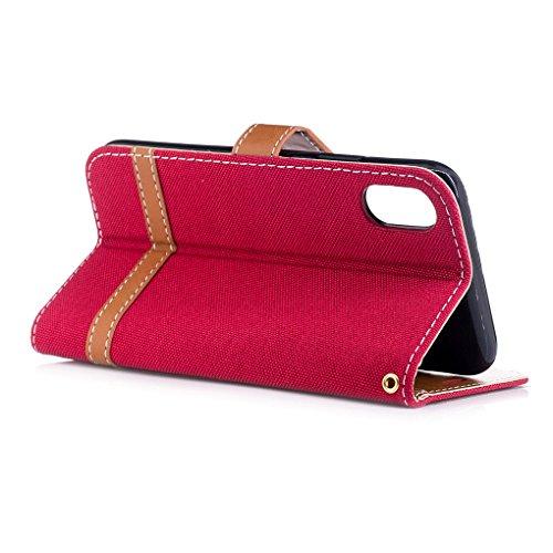 Apple iPhone 8 Hülle, SATURCASE Prämie Jeans Stil PU Lederhülle Ledertasche Magnetverschluss Flip Cover Brieftasche Case Handy Tasche Schutzhülle Handyhülle mit Standfunktion Kartenfächer und Handschl Rot