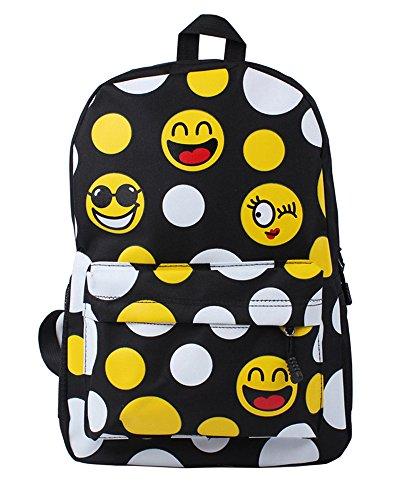 Minetom Espressione Facciale Emoji Tela Borsa A Zainetto Donna Spalla Zaini Femminili Scuola Superiore Zainetti Bag Ragazze Zaino Nero