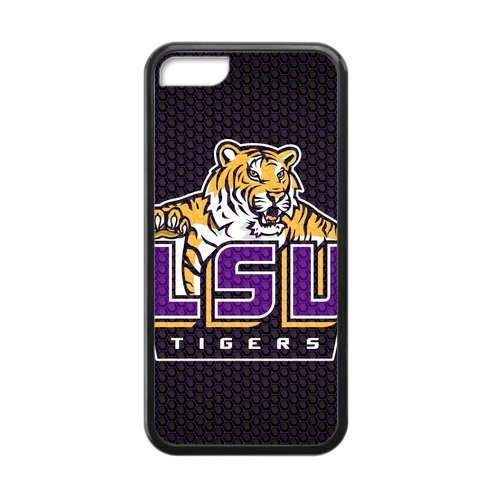 Generic Custom Best Design NCAA Louisiana State University LSU Tigers Fighting Tigers Team Logo Plastic and TPU Black and White Case Cover for iPhone5C - Fighting Tigers Cover