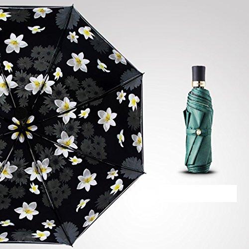 Brilliant firm Frau Sun Regen Doppelsonnenschutz-faltender Sonnenschutz UV-Schutz-Doppelschirm (Color : Green)