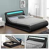 VIRGINIA Schwarz Doppelbett LED Polsterbett Gasdruckfeder Bett Lattenrost Kunstleder (180 x 200)