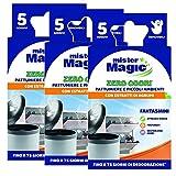 Mister Magic, Deodorante per Pattumiere e Piccoli Ambienti, con Estratti di Agrumi, 5 Pezzi, Multipack 3 Confezioni