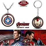 (2 Pcs AVENGER SET) - IRON MAN ROTATING (GOLD/MAROON) KEYCHAIN & CAPTAIN AMERICA ROTATING IMPORTED PENDANT WITH CHAIN. LADY HAWK DESIGNER SERIES 2018. ❤ LATEST ARRIVALS - NOW ON SALE IN AMAZON - RINGS, KEYCHAINS, NECKLACE, BRACELET & T SHIR