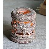 Store Indya, La esteatita natural Te luz de la vela votiva del sostenedor del quemador de incienso con floral grabado