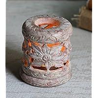 Store Indya, La pietra ollare naturale luce del te di candela votiva titolare del bruciatore di incenso con floreale