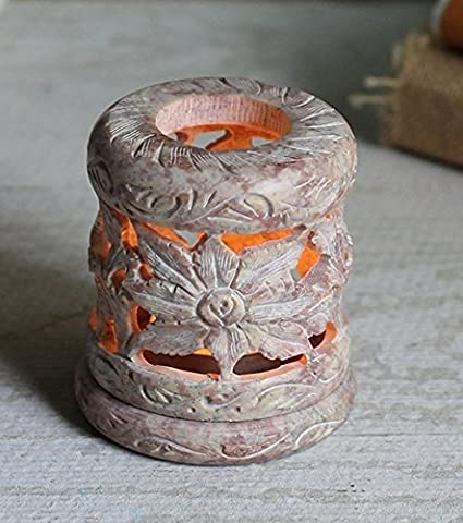 Decorations Sale Natural Soapstone Candle Votive Tea Light Holder with Open Floral Carved Design Home Seasonal Decor