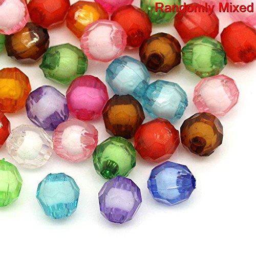 La perle et le bouton boîte - 100 Mixte Perles intercalaire Acrylique Facette 8 mm Taille du trou 2 mm), idéal pour la confection de bijoux et les travaux manuels
