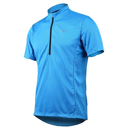 4Ucycling Herren Radtrikot Fahrrad T Shirt Sport Jersey Cycling Radshirt Kurzarm Blau S (Blau T-shirt Licht Logo)
