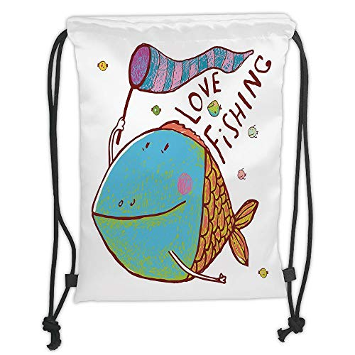 LULUZXOA Gym Bag Printed Drawstring Sack Backpacks Bags,Fishing Decor,Kids Cute Large Fat Fish Holding a Flag with Love Quote Humor Fun Nursery Theme,Multi Soft Satin, -