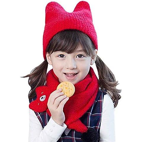 DAYAN Bambini bambino cappello di lana cappelli lavorati a maglia sciarpe sorridente Cat inverno