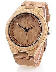 Naturholz Bambus-Holz-Uhr mit Lederband MAGFLY Japanisch Quarzwerk für Vater Geschenk braun