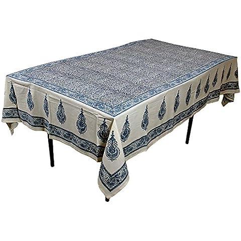 RoyaltyRoute blu floreale rettangolare tovaglie in cotone tessuto indiano Table
