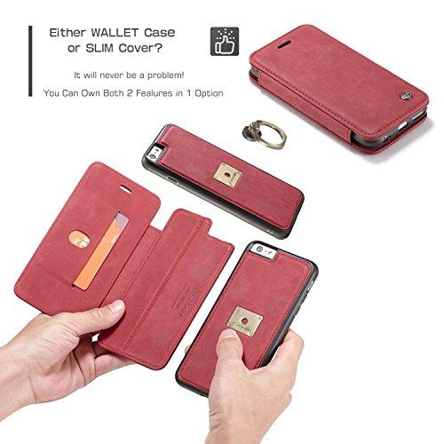 EKINHUI CaseMe Premium PU Leder Flip Wallet Case mit Kartensteckplatz, abnehmbarer Magnetischer Fingerring Für iPhone 6s Case, ( Color : Red ) Red
