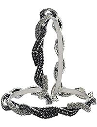 The Jewelbox Waves CZ Black Rhodium Plated Bangle Kada Set Of 2 For Girls Women