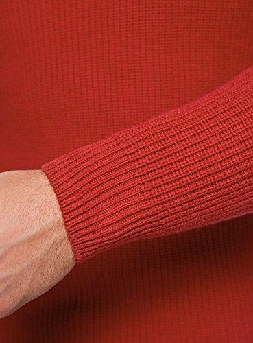 oodji Ultra Herren Baumwoll-Pullover mit Rundhalsausschnitt Rot (4500N)