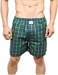 NeskaModa Men's Premium Elasticated Cotton Green Boxer With 1 Back Pocket-XB69