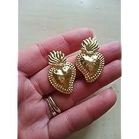 regalo di san valentino coppia amore fidanzamento innamorati orecchini ex voto cuore sacro ottone oro sicilia barocco elegante cuore messicano milagros religioso fiamma fiammeggiante