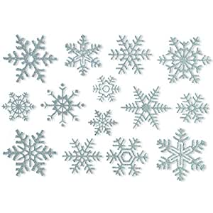 Articlings 42 Glitter Snowflake Window Clings Quick & Simple Christmas Decorations - Glueless PVC Stickers