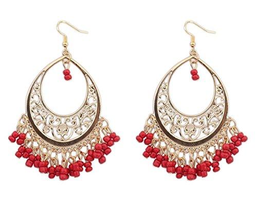 Tininna donne boemia cava nappa orecchini di goccia gioielli orecchini moda gioielli orecchini rosso