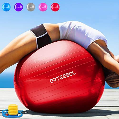Arteesol Gymnastikball, 65 cm/75 cm, Anti-Burst, Rutschfest, Yoga, Swiss Ball, Geburtsball, Schnelle Pumpe, Fitness, Yoga, Pilates, Core Training, Physiotherapie, rot, 65 cm