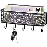 mDesign Guardallaves con cesta metálica – Versátil llavero de pared en metal para el recibidor,