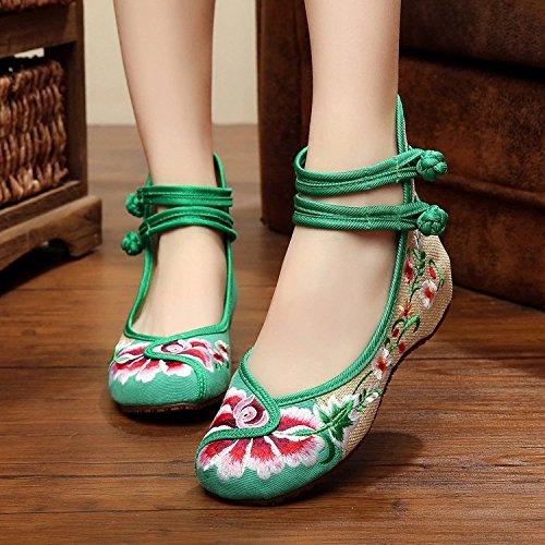 Único Sapatos Convenientes Longa Finos Feminina Sapatos Anm Bordados Moda Estilo Étnico Verdes Dança UqCdqI