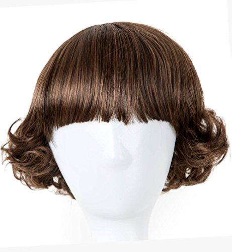 WIAGHUAS Schwarz Haar Synthetische Hitzebeständigkeit Faser Flache Pony Kinder Perücke 50 Cm Kopfumfang Kurze Lockige Haarteil 1B/30Hl 10 inch