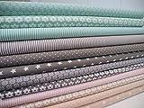 Lottashaus 12x Stoff zart Nude Rosa & Mint Türkis & Taupe Grau Stoffpaket Stoffe Patchwork Sterne Tupfen Shabby chic