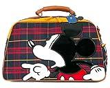 ililily Disney Mickey Plaid Faux Leather Weekender Duffle Travel Bowler Bag , Red Plaid