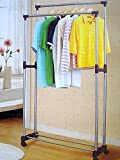 G-Honest Clothes Drying Rack, Heavy Duty Double Pole Rail Rod Adjustable Garment Rack Clothing Rack Outdoor Indoor Clothes Rack Hanger,with Weeel