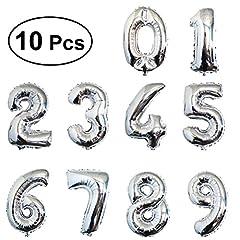 Idea Regalo - TOYMYTOY 40cm Palloncini Compleanno Numero Elio stagnola Palloncino in Foil per decorazione partito (Argento)