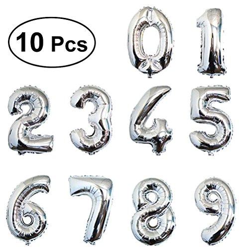 TOYMYTOY 10 Stücke 16 Zoll Folie Luftballons,Nummer 0-9 Silber Ballon Film Ballons Mylar Balloons Party Supplies