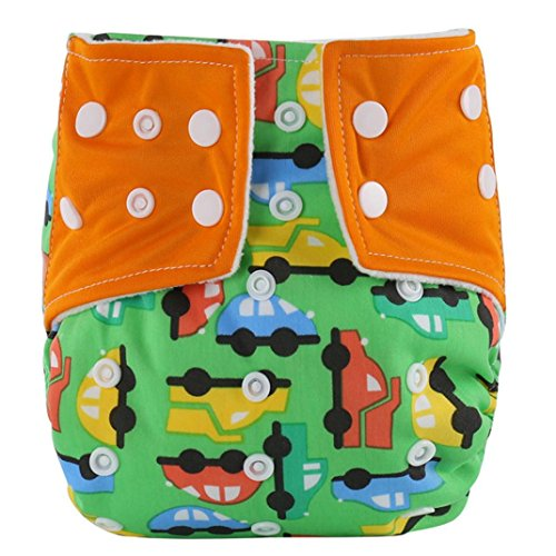 Hirolan Baby Säugling Gedruckt Tuch Windeln Wiederverwendbar Windel Waschbar Schnappen Windel (Orange)