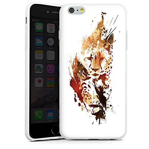 Apple iPhone X Silikon Hülle Case Schutzhülle Gepard Street Art Leo Silikon Case weiß