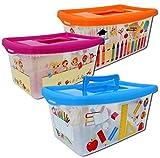Aufbewahrungsboxen für Kinder transparent mit Deckel und Handgriff 4 Liter 3...