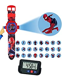 Pappi-Haunt Kids Favourite - Pack of 2 Spiderman Projector Wrist Band for Kids, Children + Car Dashboard / Office Desk Alarm Table Clock with Stopwatch & Flexible Stand