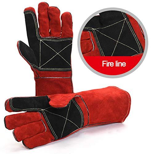 LAIABOR Gefütterter Schweißerhandschuhe Grillhandschuhe, Hitze Und Flammenresistente Schweißerhandschuhe, Unterarmschutz,Rot