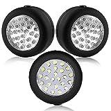 ONEDONE Mini Leuchte LM 324 mit 24 LED Lampe Arbeitsleuchte Rund Akku-Lampe mit Haken Weiß Auto (Batterien nicht mitgeliefert)