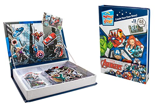 BeGifts-Disney Marvel Avengers Interactive Magnet Story Cards Imagination Magnetic Playset with Sturdy Carry Case