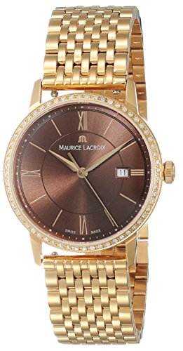 Maurice Lacroix Eliros data orologio al quarzo donna, oro 24 K, diamante, 30 mm, marrone