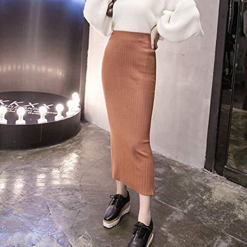 NVDKHXG Frauen Winter Langen Wollrock elastische Taille Bleistift Rock Frau Büro Rock Jupe Vintage Femme Herbst One Size Khaki -