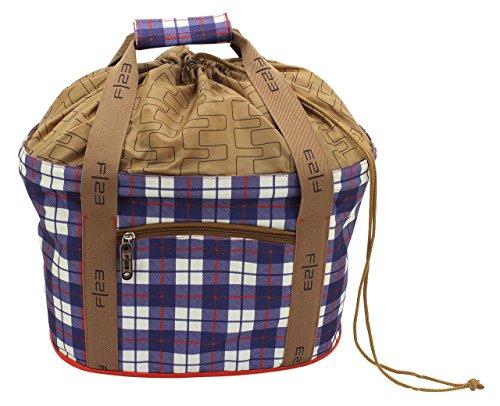 FI23cesta de la compra, Cubierta protectora integrada, 42x 27x 26cm, aprox. 20L, forma ergonómica, Shoppers 'Delight, Check (Azul) - 841108