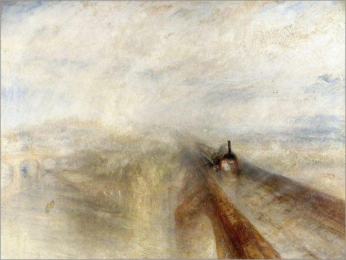 Posterlounge Leinwandbild 120 x 90 cm: Regen, Dampf und Geschwindigkeit von Joseph Mallord William Turner - fertiges Wandbild, Bild auf Keilrahmen, Fertigbild auf echter Leinwand, Leinwanddruck