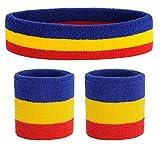 ONUPGO Schweißband Set Sport Stirnband und Handgelenk Schweißbänder Baumwoll Schweißband (Blue/Yellow/Red)