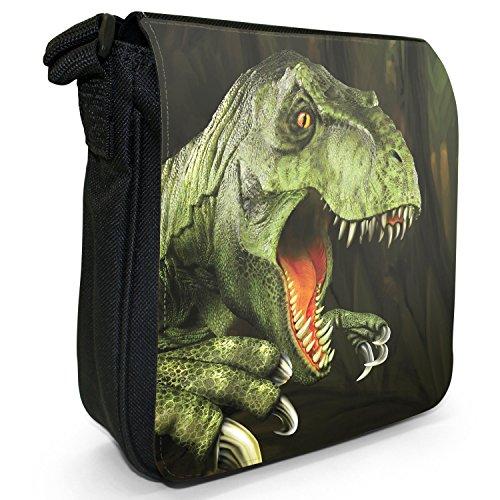 Jurassic Dinosaur Terribile Vera Borsa A Tracolla Piccola Tela Nera Tirannosauro Rex Re T.rex