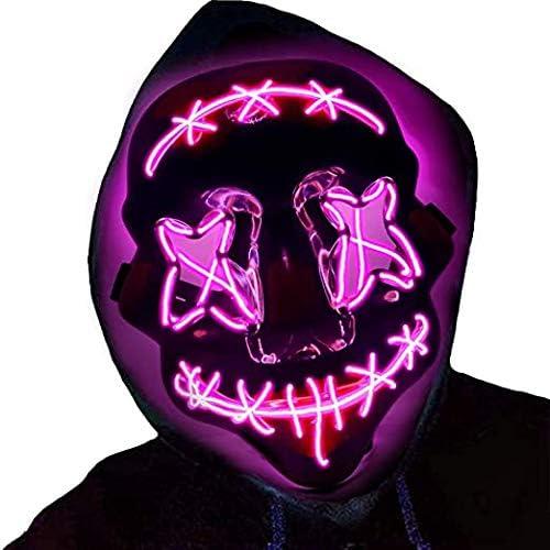 Megade Maschera LED Halloween, LED Illumina la Maschere con 3 modalità Flash, Maschera LED per Carnevale, LED Maschera Smorfia per Halloween Carnevale Festa Costume Cosplay Decorazione (Viola)