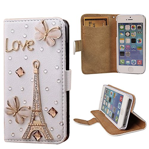 xhorizon® Premium Leder Tasche Flip 3D Blinkend Strass Diamant Kristall Stand Brieftasche Case Hülle für iPhone 4/4s/5/5s/6/6+ Plus Samsung GALAXY S3/S4/S5/Note2/Note3/S3 Mini/S4 Mini Love Turm